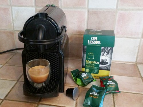 Cafe Liegeois Nespresso-compatible capsules and our Nespresso Inissia espresso machine.
