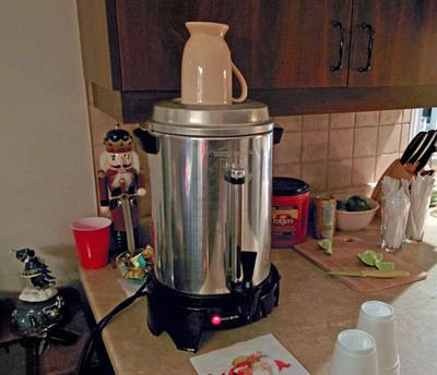 Coffee urn for party or large group.