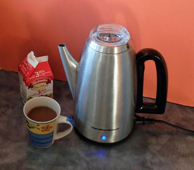 A modern electric coffee percolator.