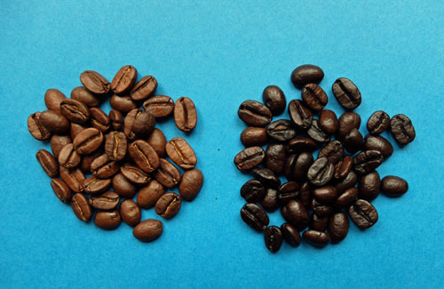 Medium and dark roast coffee beans.