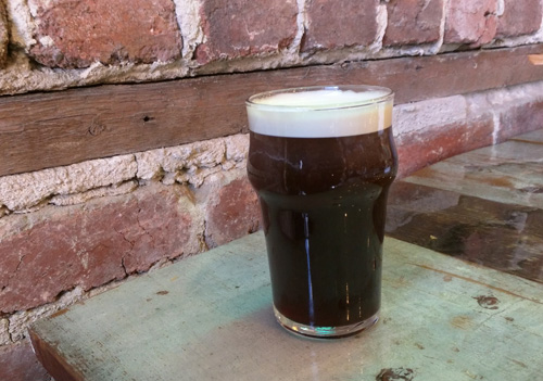 A glass of nitro cold-brew coffee.
