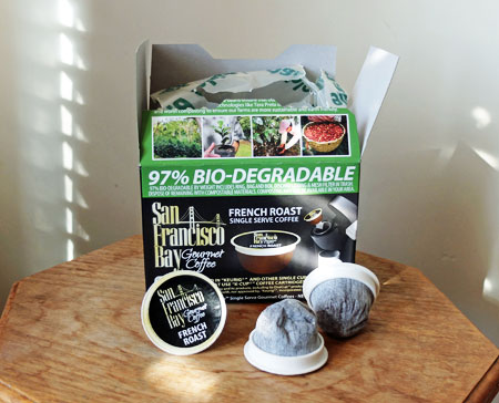 OneCup K-Cups...which are 97% biodegradable, with zero plastic parts.