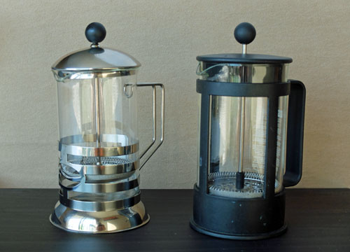 A pair of French presses, or press pots.