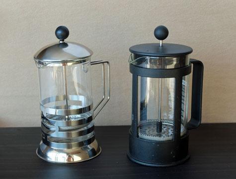 A pair of Frech presses or press pots.