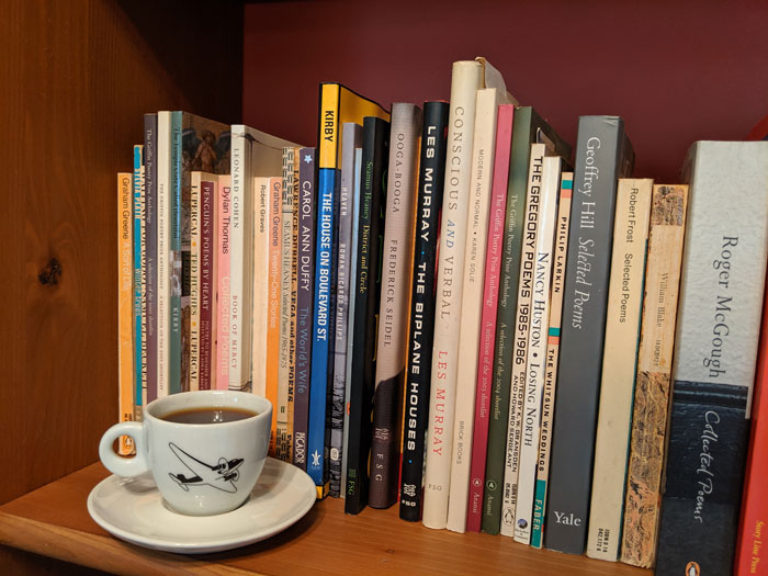 Coffee and books of poetry