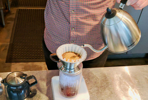 Pourover coffee being made.