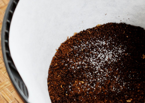 Salt in coffee.
