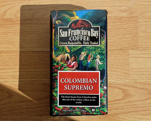 San Francisco Bay Colombian Supremo coffee.