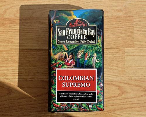 San Francisco Bay Colombian Supremo coffee.