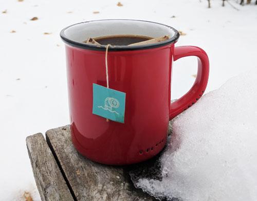 Steeped coffee in mug