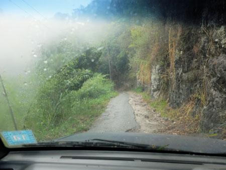 Crazy narrow mountain roads on Surgeon's Peak in Jamaica.
