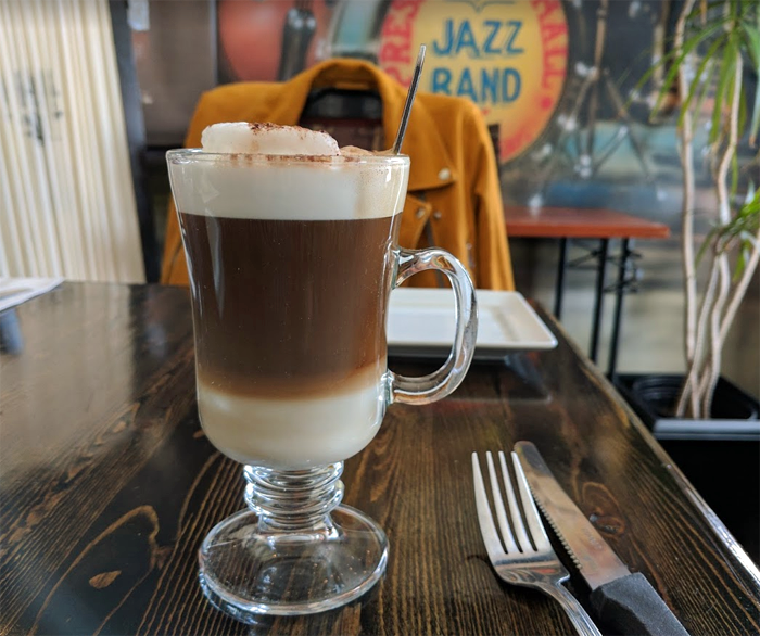 vanilla latte in tall glass