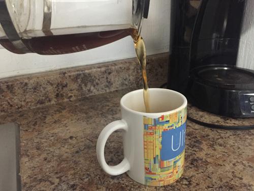 Making weak coffee.