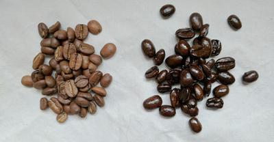 The dark-roasted coffee beans are the ones with the oily sheen on the right.