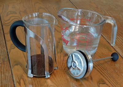 A small French Press, 20 grams of coffee and 12 fluid ounces of water.