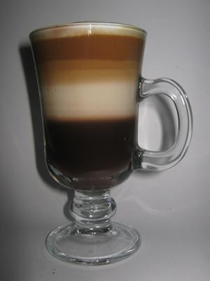 Layered coffee in a glass.